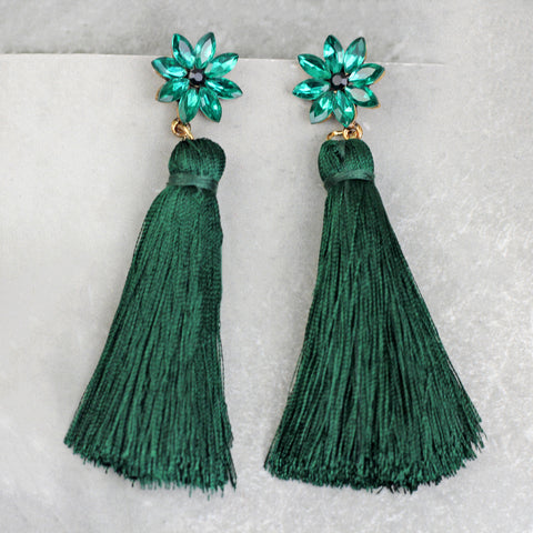 Flower Green Tassel Earrings