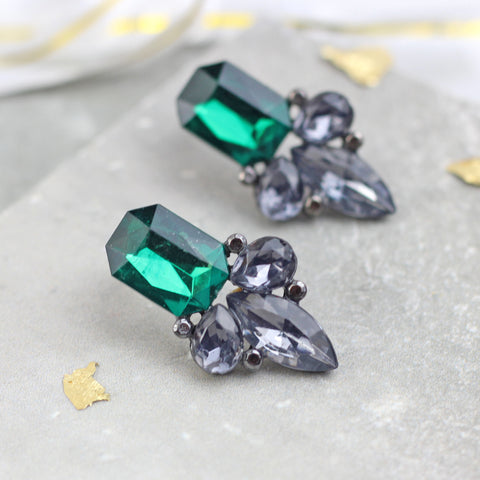 Crystal Drop Green Earrings