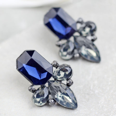 Crystal Drop Blue Earrings