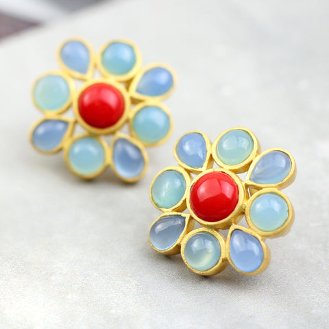 Statement Blue Flower Stud Earrings