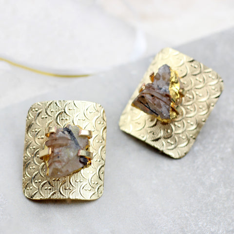 Golden Designer Stud Earrings