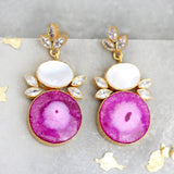 Statement Pink Mother Of Pearl Dangle Earrings