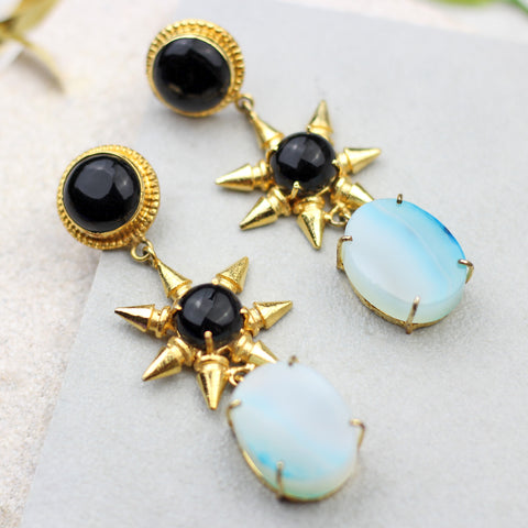 Star Agate Statement Earrings