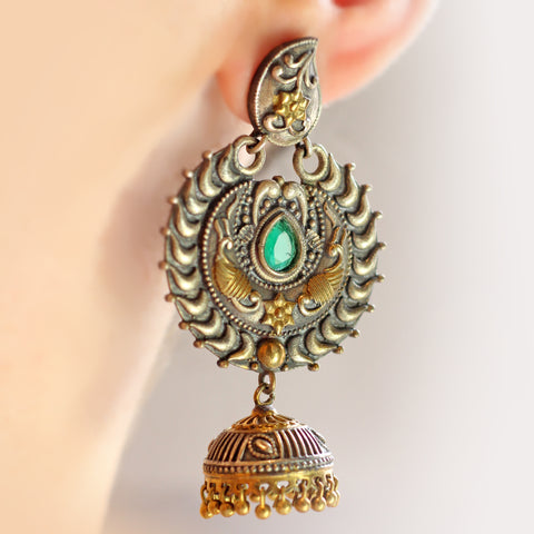 Statement Tribal Drop Green Earring
