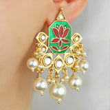 Lotus Drop Green Earrings
