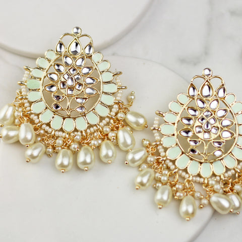 Pearl Light Mint Drop Earring