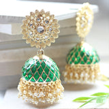 Statement Green Criss Cross Jhumke