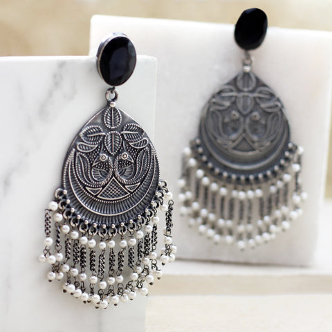 Statement Long Black Tribal Earring