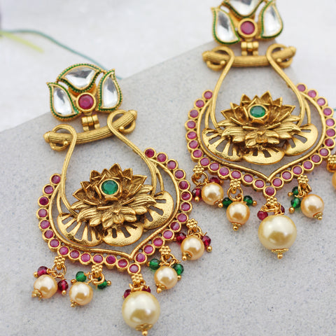 Flower Kundan Drop Earring
