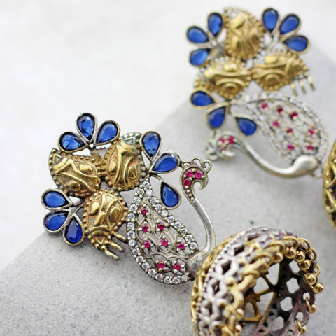 Peacock Dangle Blue Jhumke