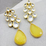 Kundan Yellow Drop Earring