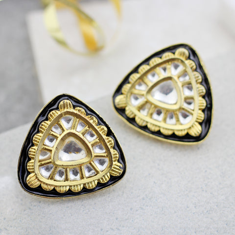 Black Enamel Stud Earring