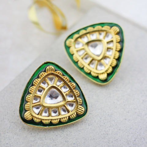 Green Enamel Stud Earring