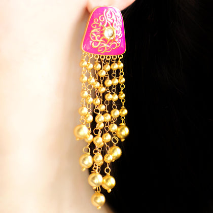 Statement Pink Tassel Earrings