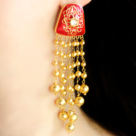 Statement Red Tassel Earrings