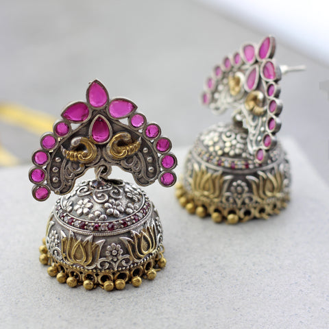 Pink Peacock Statement Jhumke