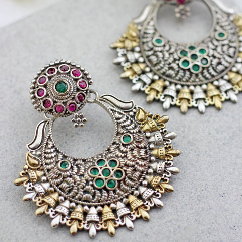Statement Pink/Green Chandbaali Earring