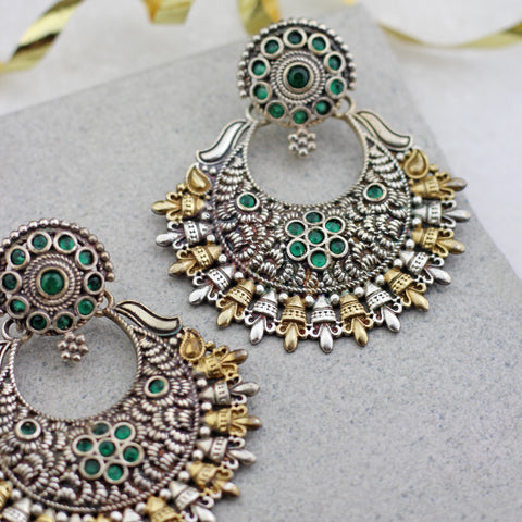 Statement Green Chandbaali Earring