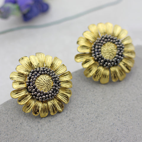 Sunflower Stud Gold Earring