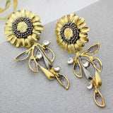 Sunflower Gold Drop Earring