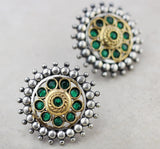 Silver Statement Green Stud Earring