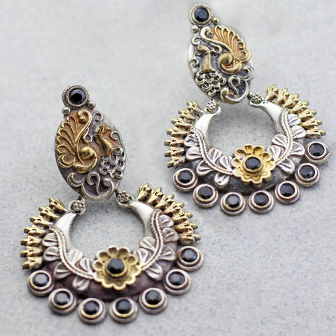 Peacock Black Drop Earring