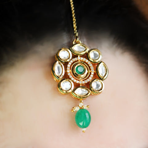 Kundan Statement Green Tika