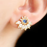 Half Flower Blue Stud Earring