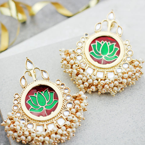 Lotus Pearl Red Drop Earring