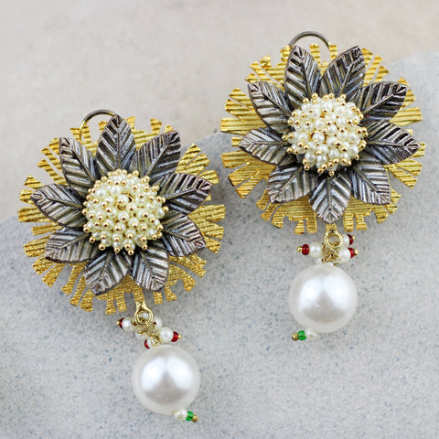 Flower Pearl Drop Earring