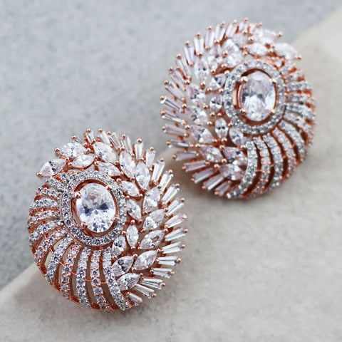 Zircon Rose Gold Stud Earring