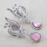 Zircon Designer Pink Drop Earring
