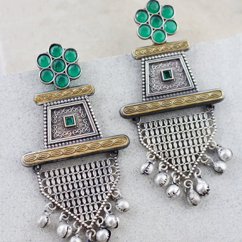 Tribal Green Drop Earring