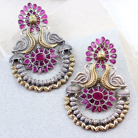 Statement Peacock Pink Drop Earring