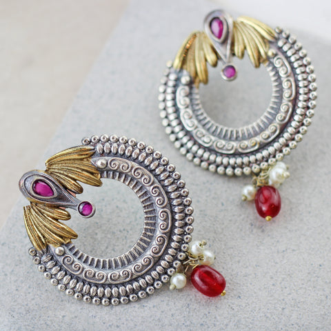 Winged Red Drop Earring