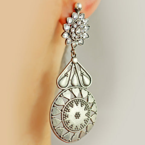 Statement Clear Drop Silver Earring