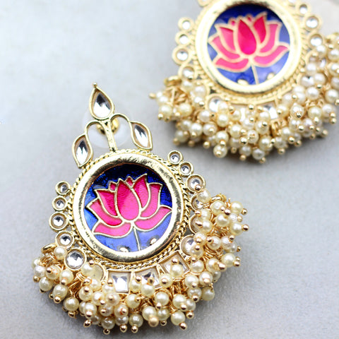 Lotus Pearl Blue Drop Earring