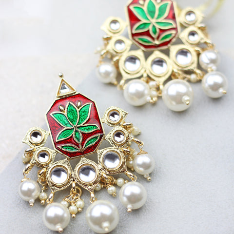 Lotus Drop Red/Green Earrings