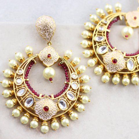 Statement Bridal White Earring