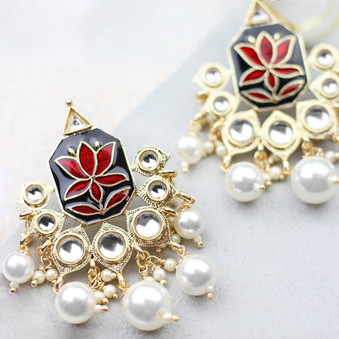 Lotus Drop Red Earrings