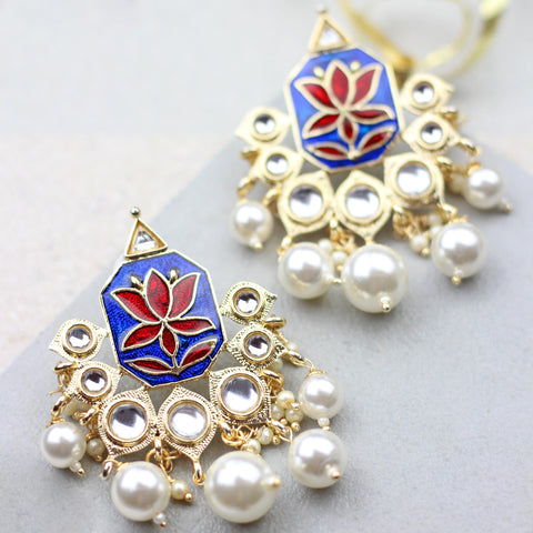Lotus Drop Blue/Red Earrings