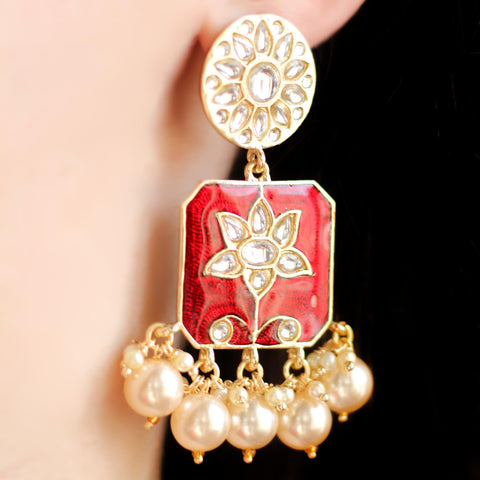 Statement Red Drop Earring