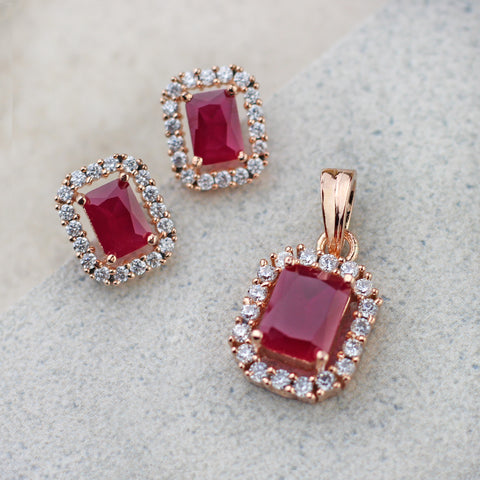 Ruby Pendant Set