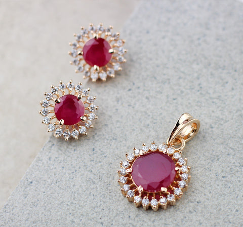Round Ruby Pendant Set