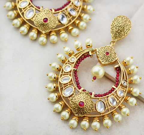 Statement Bridal Red Earring