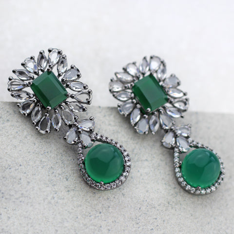 Mirror Green Drop Earring