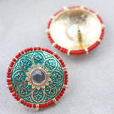 Beaded Turquoise Red Stud Earring
