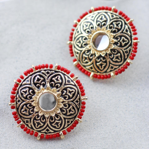 Beaded Black Red Stud Earring