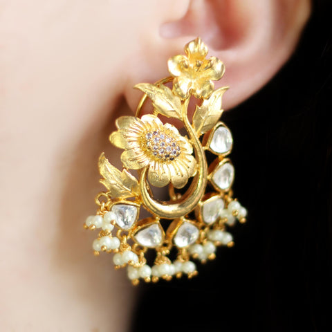 Kundan Flower Drop Earring