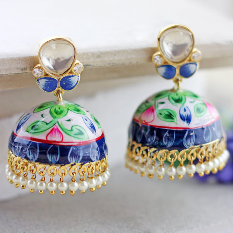 Hand Painted White Kundan Jhumke